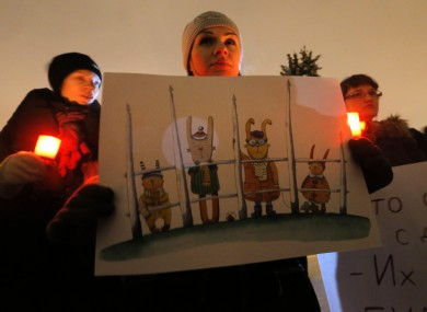 Opposition activists protest against a bill banning US adoptions of Russian children in St.Petersburg, Russia.