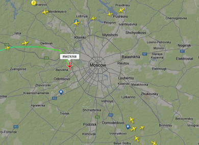 The Red Wings flight, seen on flight radar as it approached Vnukovo airport.