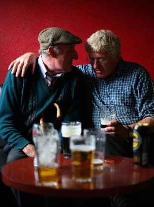 Traders enjoy a few pints during the annual Spancil Hill Horse fair in Co. Clare.