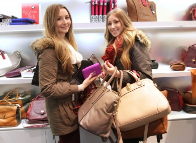 Sisters Lean, left, and Lorna Caulfield from Bray at the sale in Brown Thomas in Dublin today