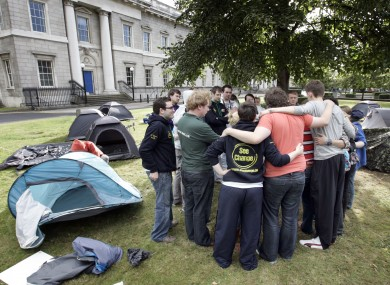 The student camp out at the Department of Education last year.