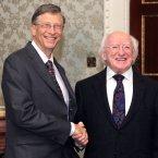 Bill Gates shakes hands with President Michael D Higgins in Aras an Uachtarain  (Mark Stedman/Photocall Ireland)