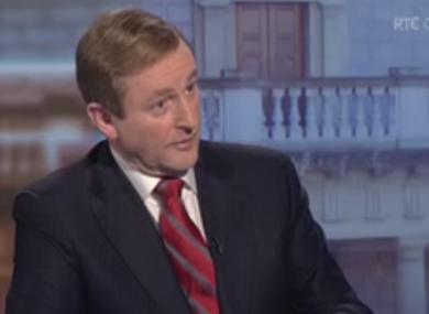 Taoiseach Enda Kenny speaking to RTÉ today