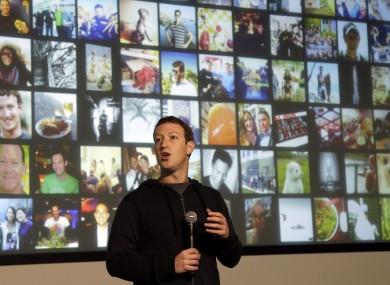 Facebook CEO Mark Zuckerberg speaking at Facebook headquarters in Menlo Park, California, today.