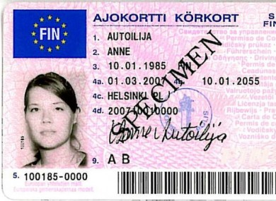 The new Irish licences, which will be issued from January 19, are modelled on a similar format already used in Finland (pictured).