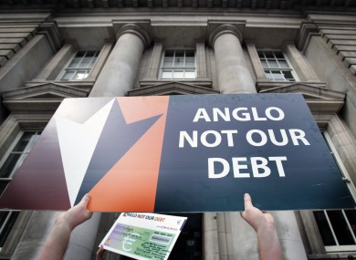 A placard protesting the promissory notes and bank bailout (File photo)