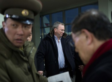Eric Schmidt (centre) arriving at Pyongyang International Airport today