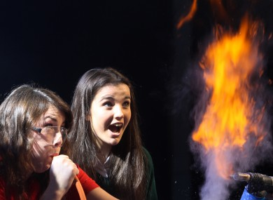 Laura Meade and 16-year-old Naoise O'Driscoll at the BT Young Scientist exhibition earlier this week