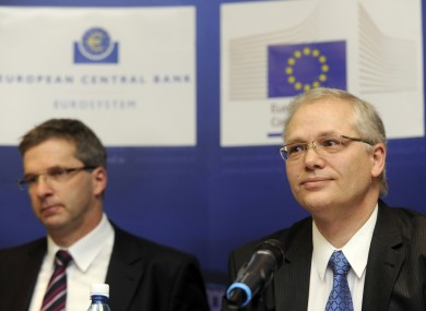 Klaus Masuch from the European Central Bank and Istvan Szekely from the European Commission, at a press briefing