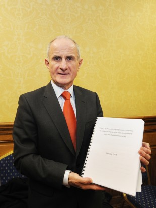 Senator Martin McAleese at the launch of his report yesterday.