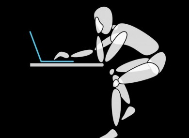 Legs akimbo, slouching - you can see where this laptop posture is going to affect your body...
