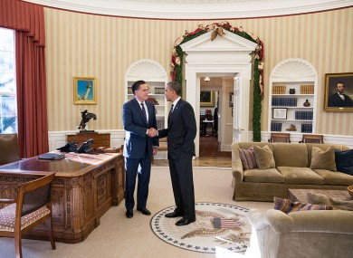 Barack Greets Mitt Romney In The Oval Office Which Will Be Vacant While