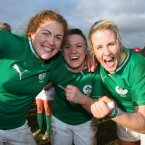 Fiona Coghlan, Lynne Cantwell and Joy Neville celebrate the Irish win.