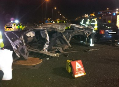 Emergency services at the scene of the crash on the M50 last night