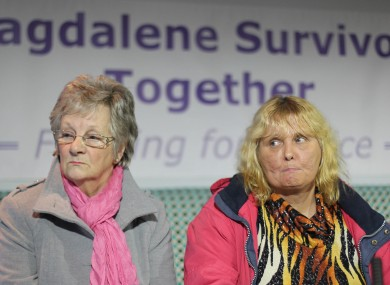 Magdalene survivors Marina Gambold and Mary Smyth at a press conference during the week