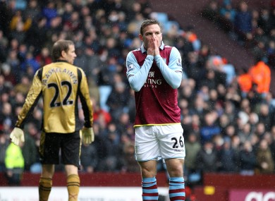Aston Villa's Andreas Weimann dejected after missing a good chance to score.