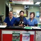 Last checkup with vet Tom Spillane and Lisa O'Rourke and Adrina Lyons who nursed him back to health.