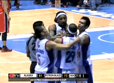 Balkman chokes his teammate.