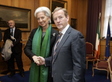 The Taoiseach greeting Lagarde at Government Buildings this morning.