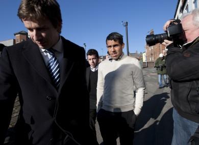 Tevez arriving in court today.