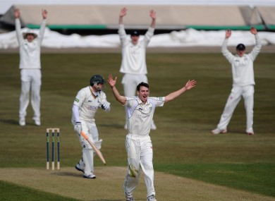 Middlesex's Toby Roland-Jones appeals successfully for the LBW of Nottinghamshire's Michael Lumb for a first ball duck.