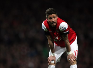 Arsenal's Olivier Giroud rues a missed chance.