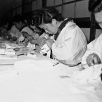 Another industry on the island of Shikoku was glove manufacture, where thousands of cheap gloves were turned out everyday for local and foreign markets. This is 1950. (AP Photo/Charles Gorry)