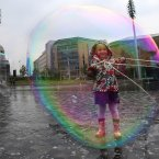 Yeva Baruch, 5, has fun with bubbles in Centenary Square as part in a series of events to promote the Bradford Science Festival.