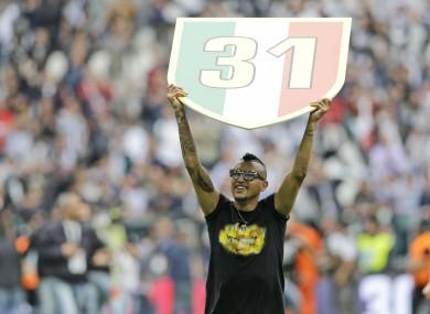Goalscorer Arturo Vidal celebrates.