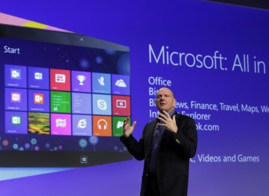 Microsoft CEO Steve Ballmer giving his presentation at the launch of Microsoft Windows 8, in New York, last October (file photo).