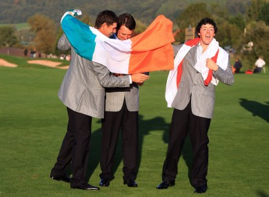 Harrington, McDowell and McIlroy celebrate Ryder Cup success in 2010.