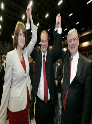 Nulty on his election in October 2011 with Minister Joan Burton and Tánaiste Eamon Gilmore