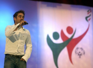 Colin Farrell launching the opening ceremony of the World Games in Dublin in 2003.