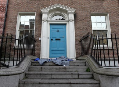 A homeless person's sleeping bag in a doorway on Kildare Street just yards from the gates of Leinster House, Dublin.