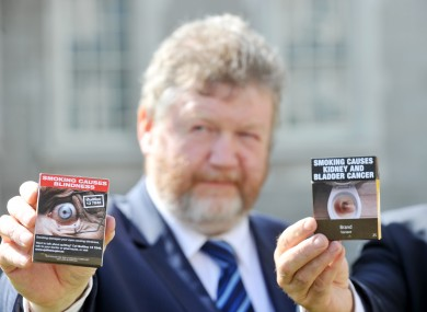James Reilly pictured at the launch of Irish plans for graphic tobacco warnings last month