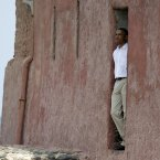 President Barack Obama looks out of the