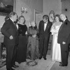 Left to right Irish Premier Sean Lemass and his wife; Madam de Valera; President John F Kennedy; Eunice Kennedy Shriver (JFK's sister) and President de Valera.