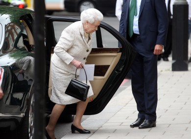 Queen Elizabeth II arrives at the London Clinic, where the Duke of Edinburgh is recuperating following an operation on his abdomen.