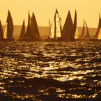 Sunrise as yachts prepare to compete in the JP Morgan Asset Management Round the Island Race off Cowes, Isle of Wight. (Chris Ison/PA Wire)