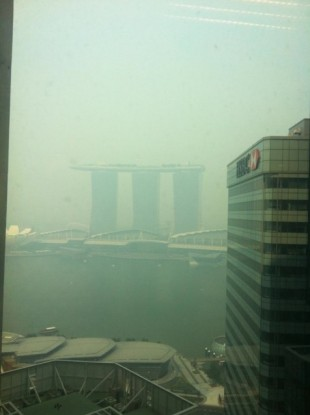 This photo, from reader Anne Ryan, shows the poor visibility in Singapore today.