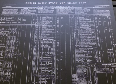 A black board showing the Dublin daily stock and share lists from the 2 December, 1878 at the Irish Stock Exchange in Dublin.