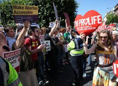 Pro-choice and pro-life protestors meet in the street last weekend. The Seanad takes up the debate on the Protection of Life During Pregnancy Bill 2013 today.