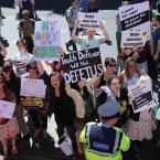 Pro Choice protestors on O'Connell Street, Dublin.