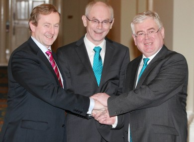 Enda Kenny and Eamon Gilmore with European Council president Herman van Rompuy (centre)