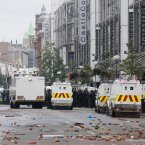 Bricks litter Royal Avenue after rioting in the centre of Belfast. (AP Photo/Peter Morrison)