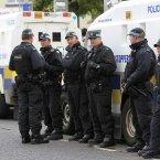 PSNI officers in Castlederg. Pic: Julien Behal/PA Wire