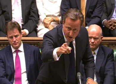 David Cameron speaking during the debate on Syria today.