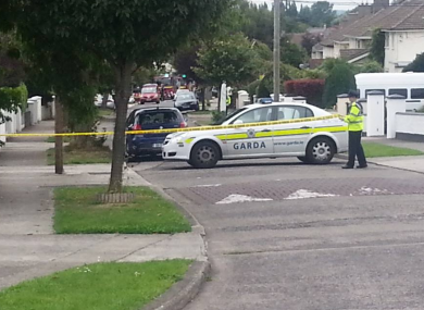 Garda cordon at the scene of the incident on Weston Road in Churchtown in Dublin.