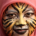 A Muslim activist with face painted to resemble a tiger, takes part in a protest against Sumatran tiger trade that marks the Global Tiger Day, in Jakarta, Indonesia. Sumatran tiger is the world's most critically endangered tiger subspecies with fewer than 400 remain in the wild and may become extinct in the next decade due to poaching and habitat loss. (AP Photo/Tatan Syuflana)