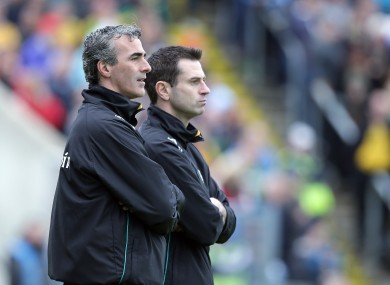Donegal manager Jim McGuinness with selector Rory Gallagher.